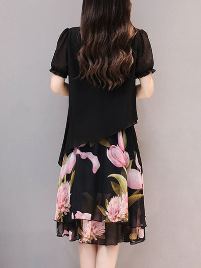 Fashion Floral Printed Chiffon Round Neck Shift Dress