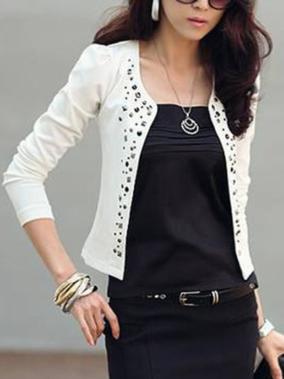 New Collarless  Rivet  Plain Blazer