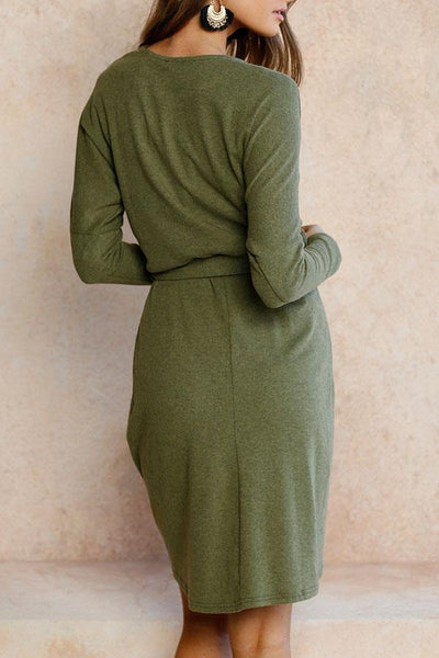 Round Neck  Asymmetric Hem  Belt  Plain Casual Dresses
