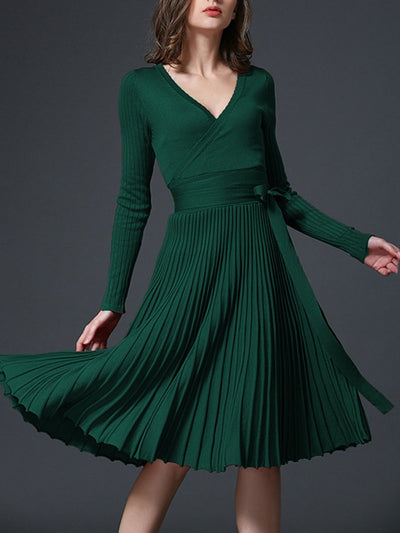 Fashion Sexy V-Neck Solid Pleated Knitted Skater Dress