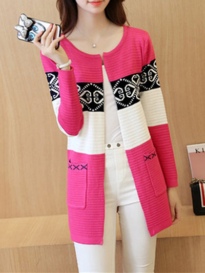 Color Block Printed Patch Pocket Cardigan