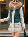 Hooded Color Block Quilted Zips Pocket Padded Coat