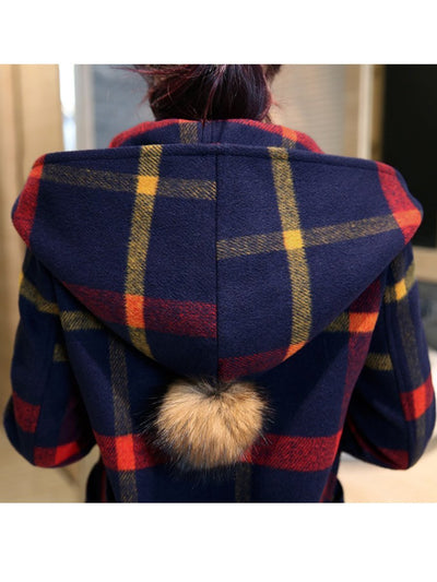 New Hooded Plaid Patch Pocket Woolen Coat
