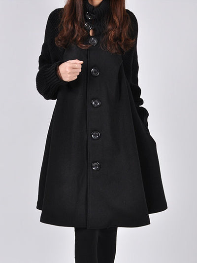 New High Neck Patchwork Plain Woolen Coat