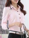 Turn Down Collar Contrast Piping Chiffon Blouse