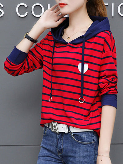 Striped Heart Patch Drawstring Hoodie