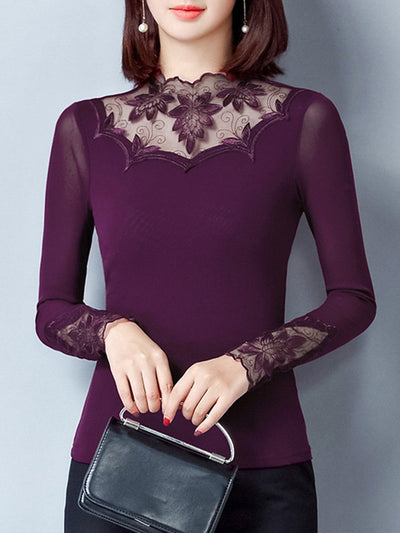 New Band Collar  See-Through  Plain Blouse