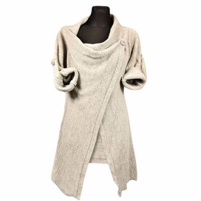 Poncho Cotton Irregular Single Button Autumn Loose Knitted Cardigans
