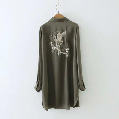 Women Flower Embroidery Long Shirts Loose Tops Blusas