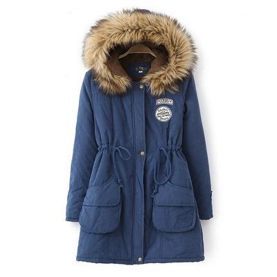 Winter Jackets Women Fur Collar Long Parka Hoodies Cotton Outwear