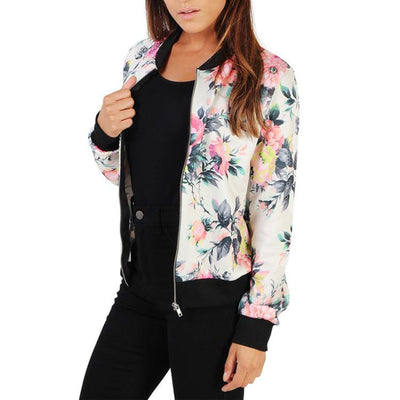 Women's Band Collar Floral Printed Bomber Zipper Jacket Outwear