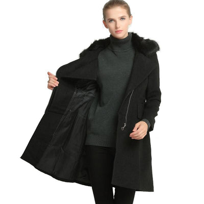Women Winter Coat Faux Fur Collar Long Woolen Coat