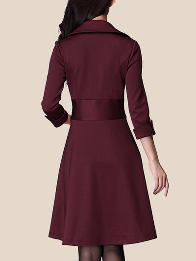Lapel Plain Office Skater Dress
