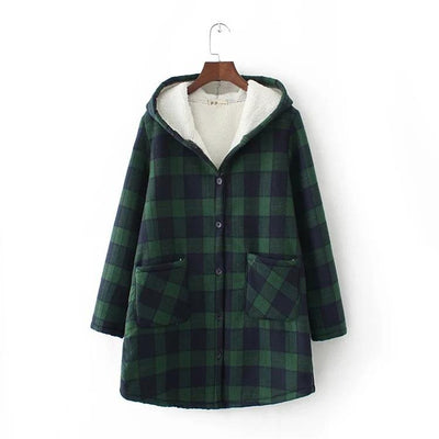 Casual Plaid Long Sleeve Hooded Warm Thick Coat
