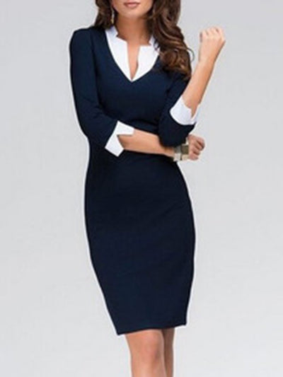 New Fold-Over Collar Plain Blend Bodycon Dress