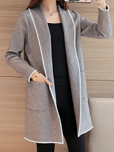 New Lapel Casual Solid Trench Coats