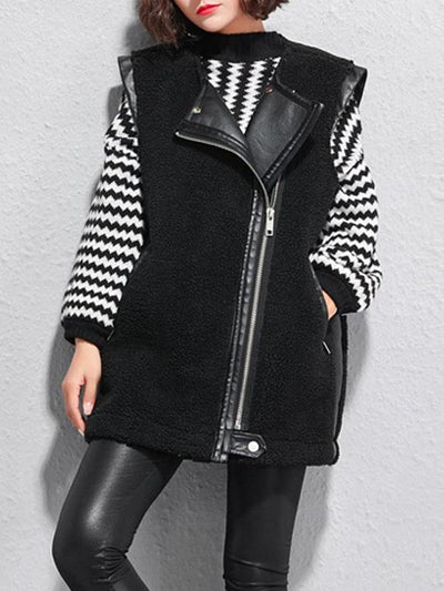 Women Fleece PU Leather Turn-Down Collar Vest Jacket