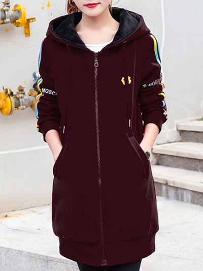 Casual Pocket  Striped Hoodie