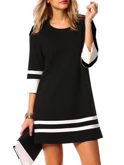 Fashion Round Neck Color Block Striped Shift Dress