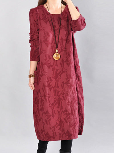 Round Neck Patch Pocket Printed Maxi Dress