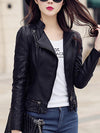 Lapel Zips PU Leather Plain Biker Jacket