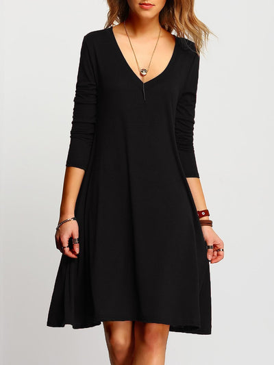pure color  Deep V-Neck Plain Shift Dress