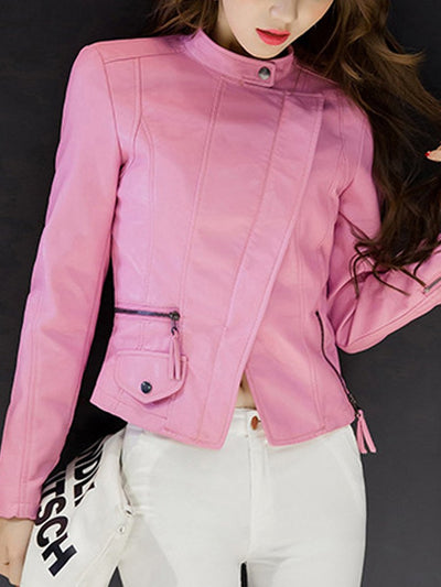 Lapel PU Leather Zips Plain Biker Jacket