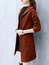 Hooded  Plain  Long Sleeve Trench Coats