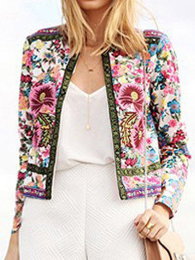 Collarless  Floral  Long Sleeve Jackets