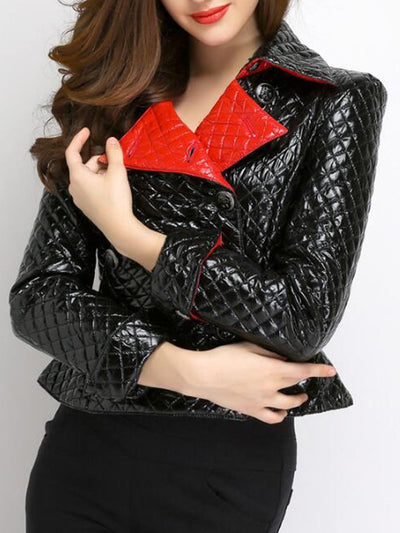 Fold-Over Collar  Double Breasted Flounce  Plain Jackets