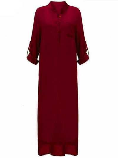 Band Collar  Patch Pocket  Plain  Polyester Maxi whole colored Dress