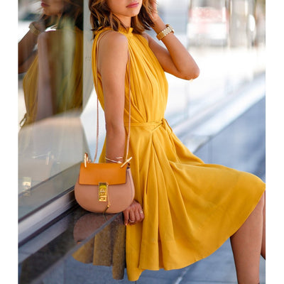 Fashion Solid Color Sleeveless Pleated Skater Dress With Pockets & Belt