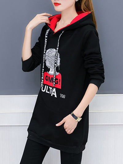Lightweight  Cartoon Letters  Long Sleeve Hoodies