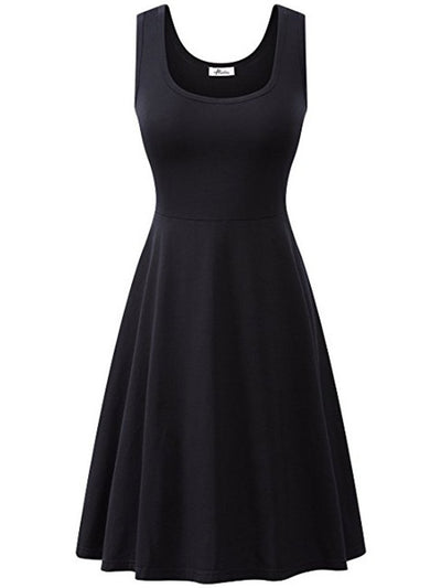 Fashion Summer Casual Women Plain Cotton Round Neck Skater Dress