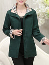 Fold-Over Collar  Zips  Plain  Long Sleeve Trench Coats