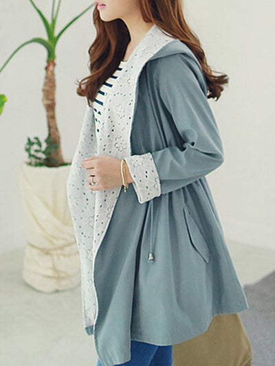 Hooded  Drawstring  Plain  Long Sleeve Trench Coats