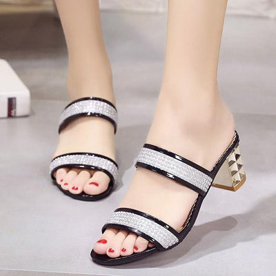 Color Block  Chunky  Mid Heeled  Woman  Casual Sandals