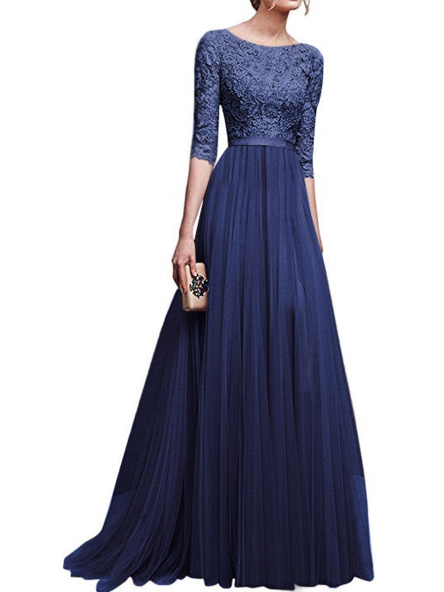 4f12843e761 Round Neck Patchwork Plain Evening Dress