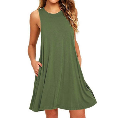 New Sleeveless Round Collar Solid Color Skater Dress With Pockets