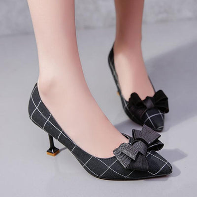 Plaid Pointed Toe High Heels Shoes