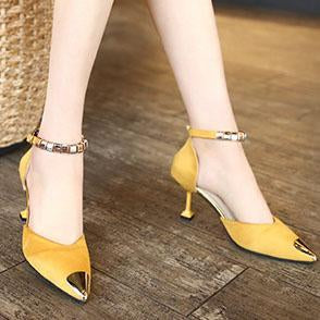 High Heeled  Faux Suede  Point Toe  Casual Pumps