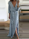 Fashion V-Neck  Plain Maxi Dresses