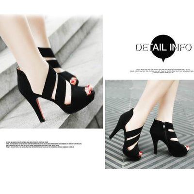 Black Pure Color Hollow High Heels Shoes