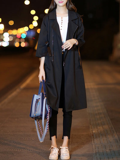 Fold-Over Collar  Drawstring  Plain  Half Sleeve Trench Coats