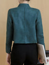 Band Collar  Flap Pocket  Plain  Long Sleeve Jackets