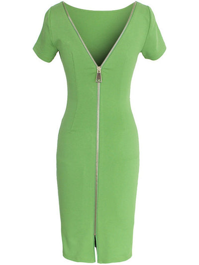 Fashion Round Neck  Plain Bodycon Dress