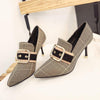 Pointed Toe Plaid High Heel Woman Shoes