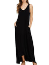New Round Neck  Plain Maxi Dress