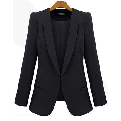 Fashion Pure Color Lapel Long Sleeved Blazer