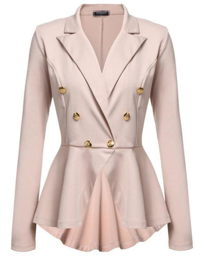 Elegant Pure Color V Collar Irregular Long-Sleeved Blazer